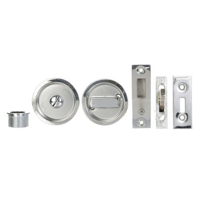 Sliding Door Bathroom Turn Set in Polished Stainless Steel