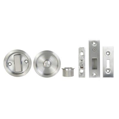 Sliding Door Bathroom Turn Set in Satin Stainless Steel