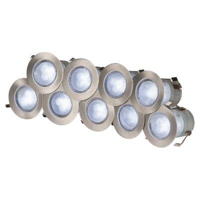 Knightsbridge IP65 10 X 0.2W White LED Decking Light Kit 6000K