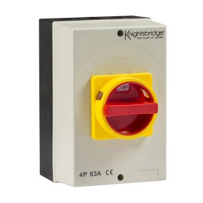 Knightsbridge IP65 Rotary Isolator 63A 4 Pole 230V-415V IN0028