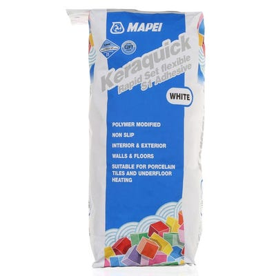 Mapei Keraquick White Rapid Setting Flexible S1 Adhesive 20Kg Pallet of 48