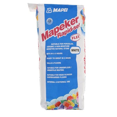 Mapei Mapeker White Rapid Set Porcelain Adhesive 20Kg Pallet of 48