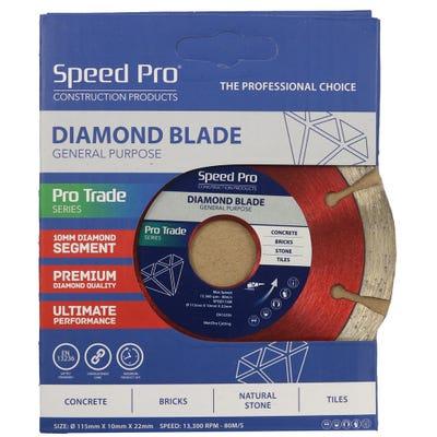 Speed Pro Trade 115mm General Purpose Diamond Blade 10mm Dia Segment