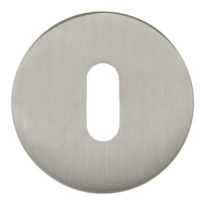 Forme Key Escutcheon on Round Rose Satin Nickel (Each)