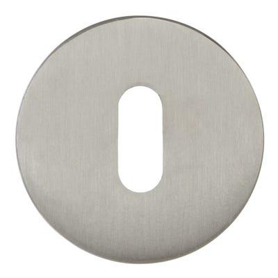 Forme Key Escutcheon on Round Rose Satin Nickel (Each)