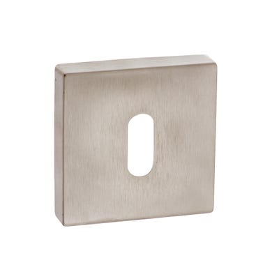 Forme Key Escutcheon on Square Rose Satin Nickel (Each)