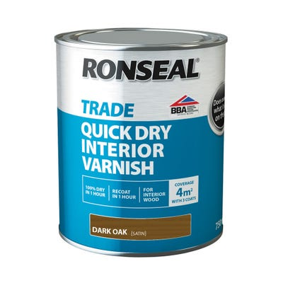 Ronseal Trade Quick Dry Interior Varnish Coloured 750ml