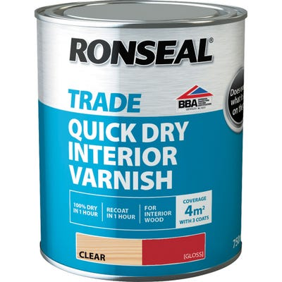 Ronseal Trade Quick Dry Interior Varnish Clear Gloss