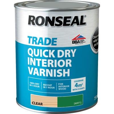 Ronseal Trade Quick Dry Interior Varnish Clear Matt