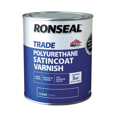 Ronseal Trade Polyurethane Satincoat Varnish Clear