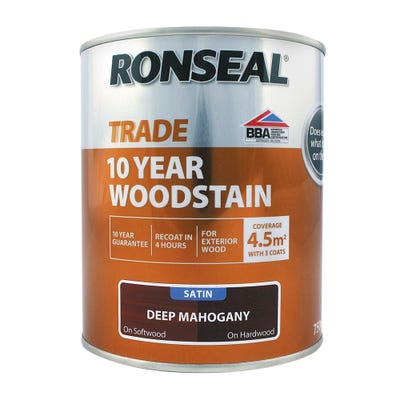 Ronseal Trade 10 Year Woodstain Deep Mahogany Satin