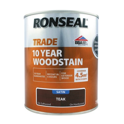 Ronseal Trade 10 Year Woodstain Teak Satin