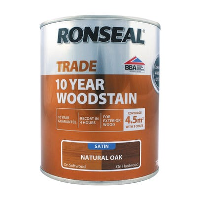 Ronseal Trade 10 Year Woodstain Natural Oak Satin