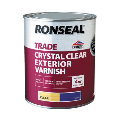 Ronseal Trade Exterior Varnish Crystal Clear Satin 750ml