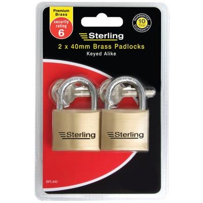 Sterling Keyed Alike Padlock Solid Brass 40mm Pack of 2