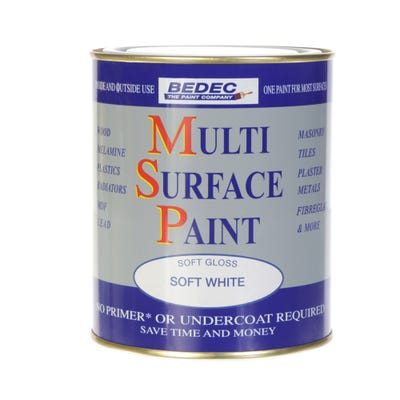 Bedec Multi Surface Paint Soft Gloss White 750ml