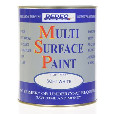 Bedec Multi Surface Paint Soft Matt White 750ml
