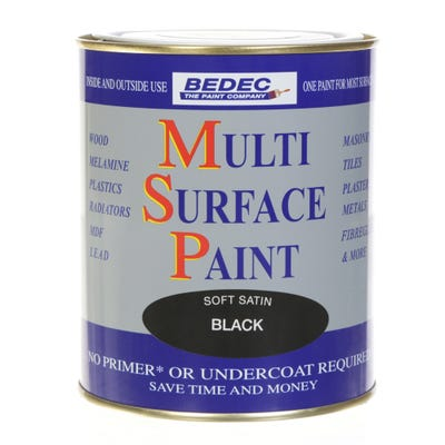 Bedec Multi Surface Paint Soft Satin Black 750ml