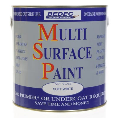 Bedec Multi Surface Paint Soft Gloss White 2.5L