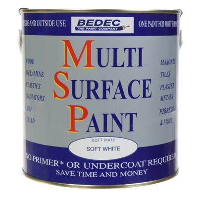 Bedec Multi Surface Paint Soft Matt White 2.5L