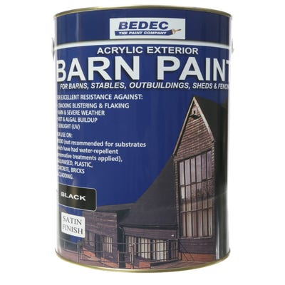 Bedec Barn Paint Satin Black 5L