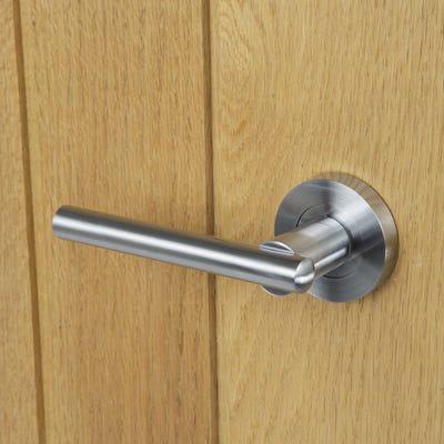 Crown's Alpha Door Handle Set with 3 Fire Door Hinges & 76mm Latch