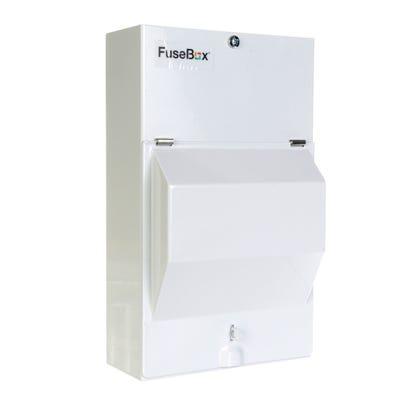 FuseBox 2 Usable Way Populated Garage Unit 1 X 63A RCD + 2 MCB (6A & 16A)