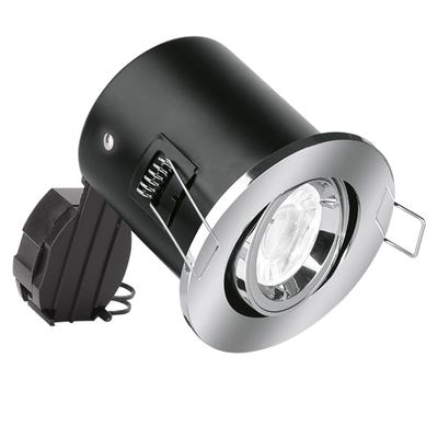 Aurora Tilt GU10 230V Fire-Rated Downlight - Chrome EN-FD102PC
