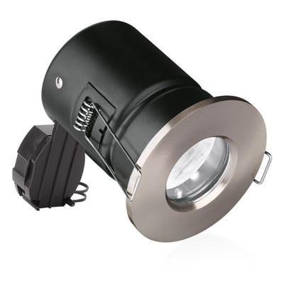 Aurora IP65 GU10 230V Fire Rated Shower Downlight - Brushed Chrome EN-FD103SN