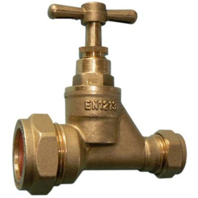 Brass Stop Cock MDPE 25mm x 22mm