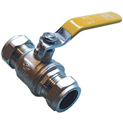 Yellow Lever Gas Ball Valve 28mm