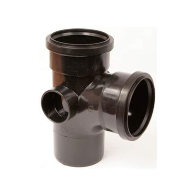110mm Polypipe 92.5° Equal Branch Double Socket Black ST401B
