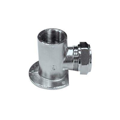 Wall Plate Elbow Chrome Compression 15mm x ½''