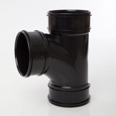 110mm Polypipe 92.5° Single Short Branch Triple Socket Black SWT29B