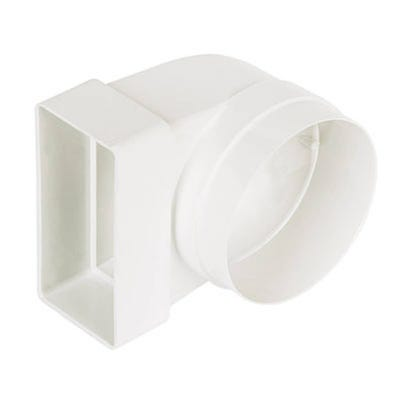 Manrose 110mm x 54mm Flat Channel Duct To 4'' Round Elbow Connector 90°