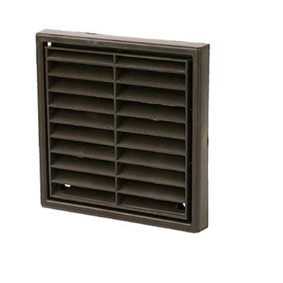 Manrose 100mm / 4'' Brown Fixed Louvered Multifit Grille Round / Rectangular