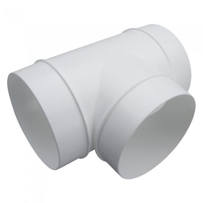 Manrose 100mm / 4'' Round PVC Ducting T Piece