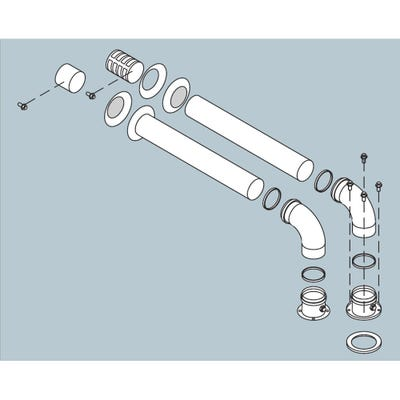 Biasi HE Twin Horizontal Flue Kit - 1.0m Length x 80mm Diameter