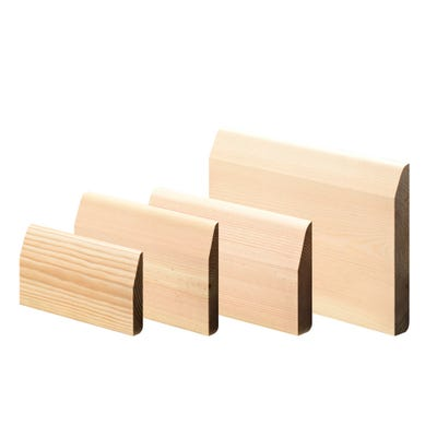 25mm x 100mm Softwood Chamfered & Pencil Round Reversible Skirting (Finish 20.5mm x 94mm)