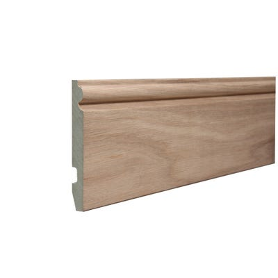 18mm x 144mm MDF White Oak Veneered Torus Skirting 4400mm