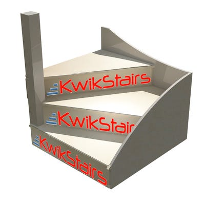 Kwikstairs Left-Hand Winder Staircase Kit Up to 900mm Wide