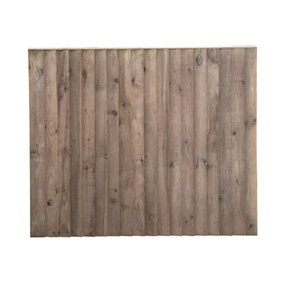 6' X 5' Softwood Feather Edge Brown Treated Fence Panel